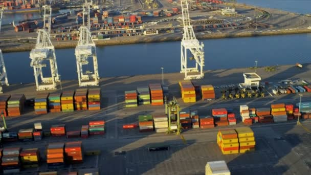 Aerial of ship container terminal, USA