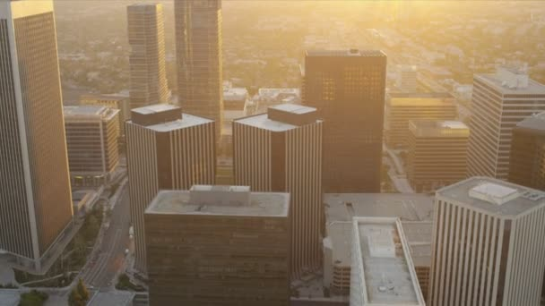 Aerial sunset city view of financial buildings, LA, USA