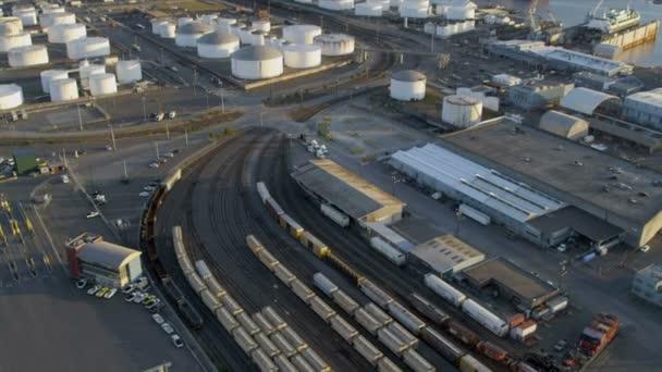 Letecký pohled na port seattle přístav ostrova kontejner ukotvit, usa
