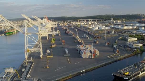 Letecký pohled na přístav ostrova kontejner doky, port seattle