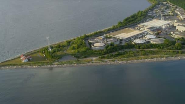 Luftbild West Point Leuchtturm und Behandlung Pflanze, seattle