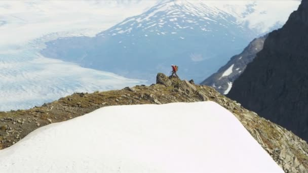 Climber at high Peaks Troublesome Glacier