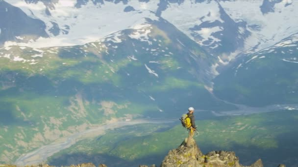 Mountain climber in summer