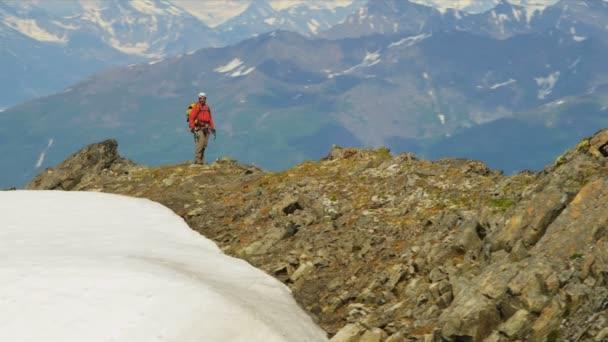 Mountain climber walking, Alaska