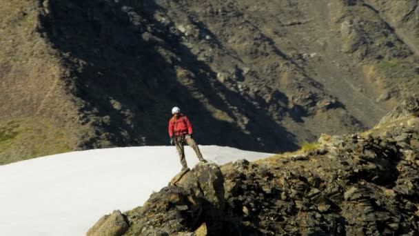 Mountain climber in summer, Alaska