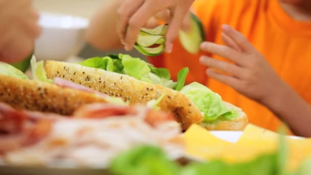 Family preparing healthy lunch together