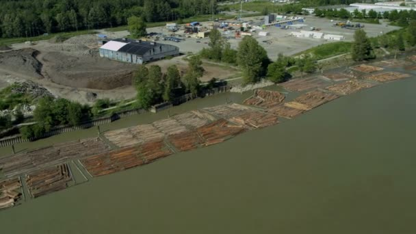 Aerial view of river logs timbered from local forests, Vancouver,