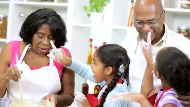 Family preparing in the kitchen