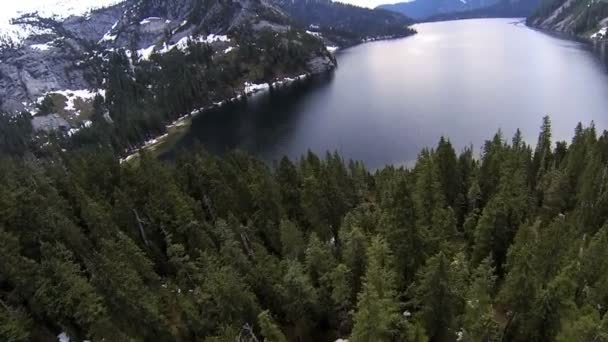 Aerial view coniferous forest mountain lake, Canada