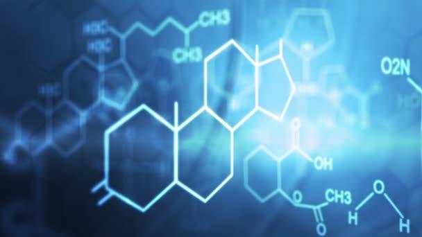 3D motion graphic chemical compound formula projection