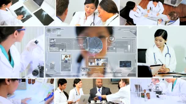 CG video montage Multi ethnic medical research hospital