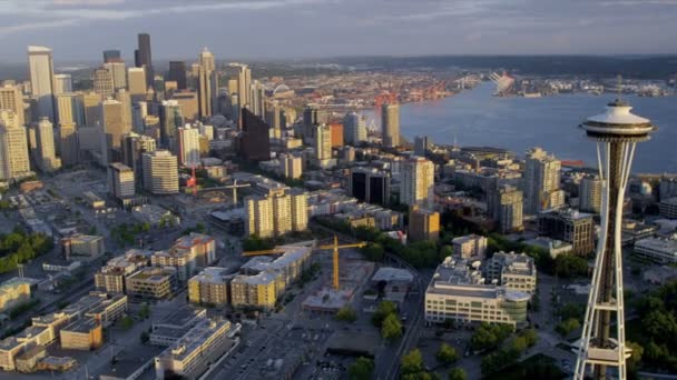 Aerial sunset view Seattle Space Needle Elliot Bay, USA