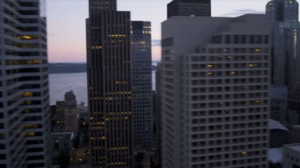 Aerial close up sunset view skyscrapers Seattle city transport system, USA