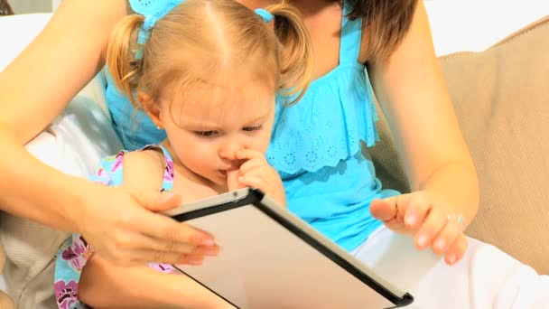 Caucasian Mother Child Wireless Tablet Close Up