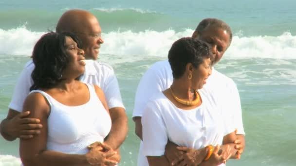 Happy Ethnic Seniors on Beach Vacation