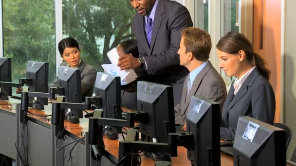 Management team working at computers