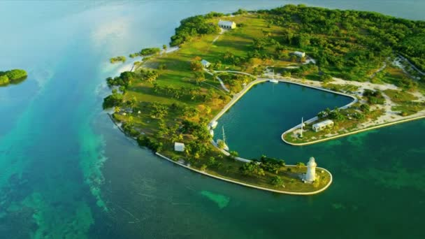 Aerial view of small sub tropical Island in Florida