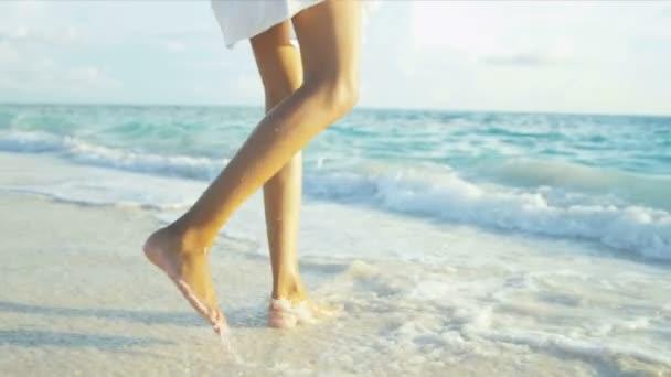 Barefoot Hispanic Beach Girl