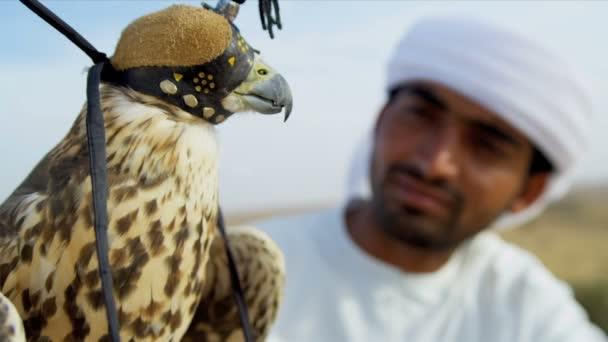 Uccello in cappuccio di falconeria con proprietario maschile