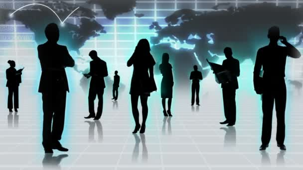 Business people using global wireless technology