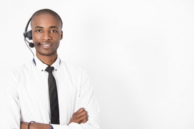 Young professional call center agent male