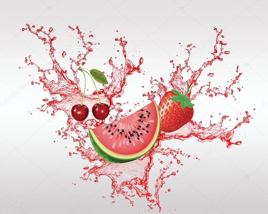 Red Fresh Fruit in the Splash Vector