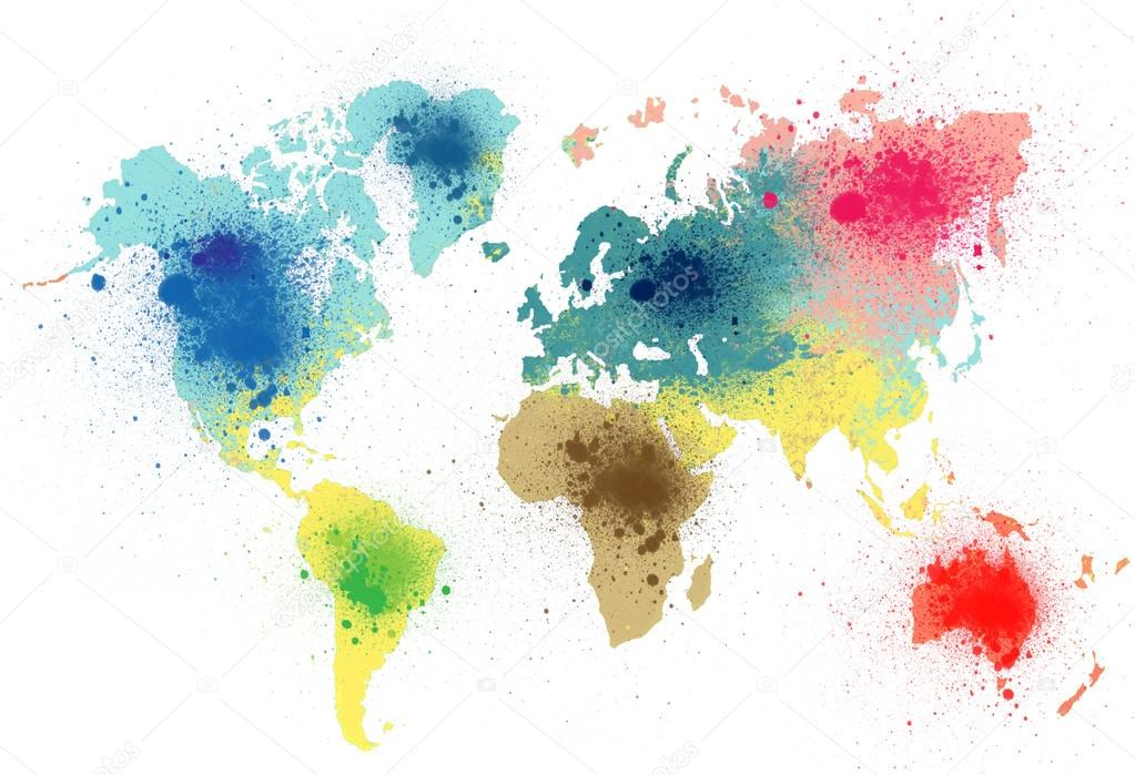 Colorful World Map With Paint Splashes Stock Photo Nevarpp - Colorful world map