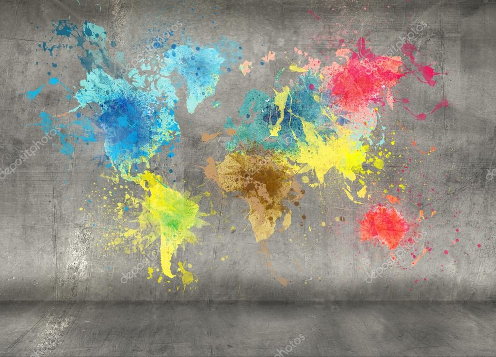 World map made of paint splashes on concrete wall background stock world map made of paint splashes on concrete wall background stock photo gumiabroncs Images
