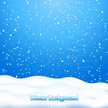 Falling Snow. Blue Winter Background stock vector