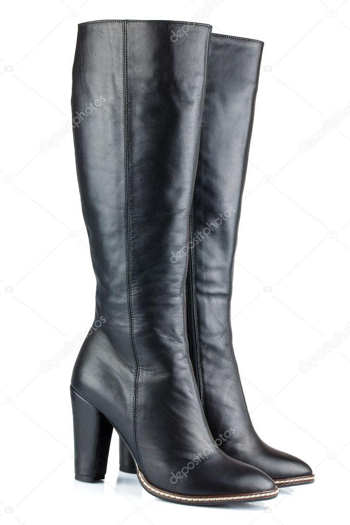 Lederstiefel — Stockfoto Dame Schwarze Olgamark15349377 © ChsrQdt