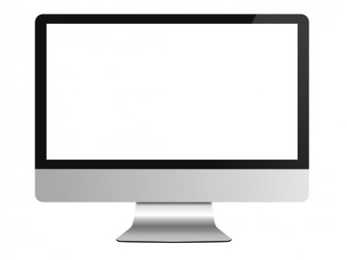 Computer monitor on white isolated