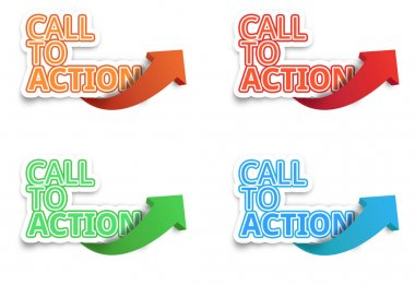 Call to Action, Website click, Internet concept, on white isolated
