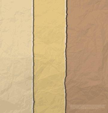 Torn brown creased paper background vector clip art vector