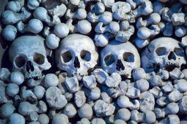 Human skulls and bones in Sedlec Ossuary, Kostnice cemetery church of All Saints in Sedlec
