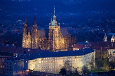 Prague Castle in Prague center in the evening lights, Prague, Czech Republic