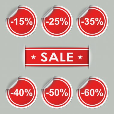 Sale stickers and tags with discounts