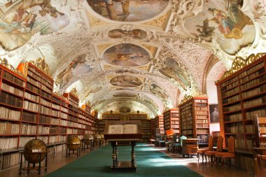 Library, Ancient books, globes in Stragov monastery Czech Republ