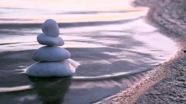 Stones in Zen style and sea waves