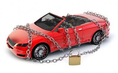 NO BRAND Car protected & secured with chain