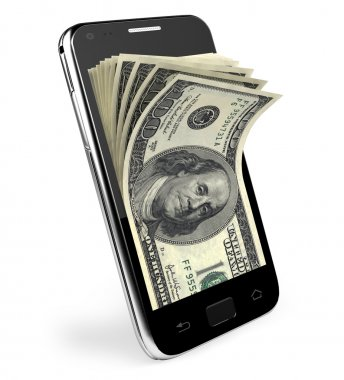 Smart phone with money concept. Dollars.
