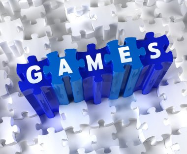 Blue Creative 3D puzzle and word GAMES stock vector