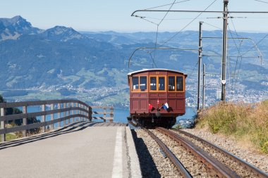 Oldtime train on the Rigi mountain cogwheel railway