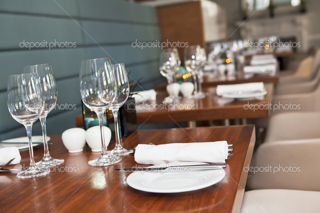 Restaurant table setup u2014 Stock Photo & Restaurant table setup u2014 Stock Photo © SergeBertasiusPhotography ...