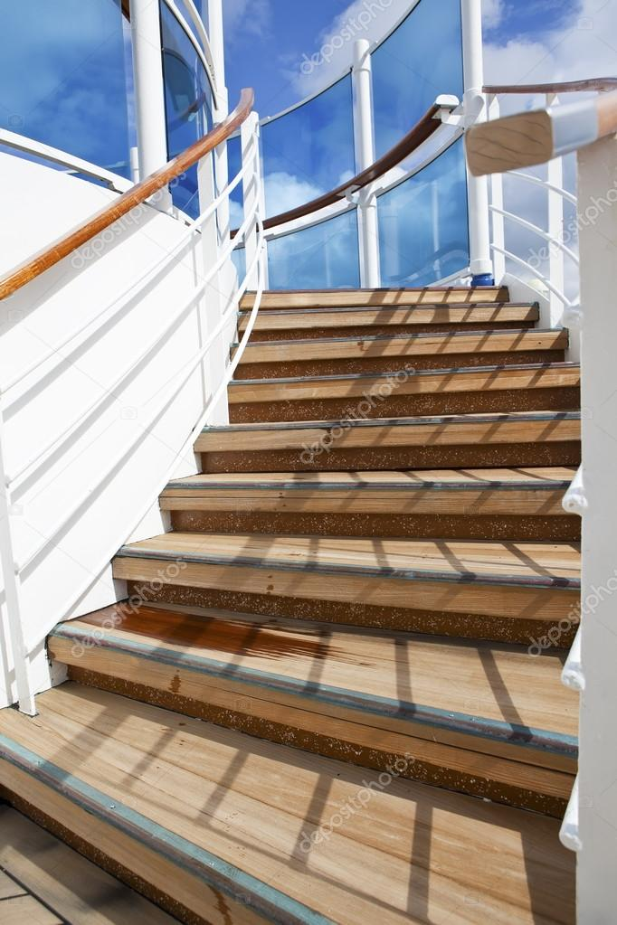 Stairs Up On Sundeck Of The Cruise Ship U2014 Stock Photo