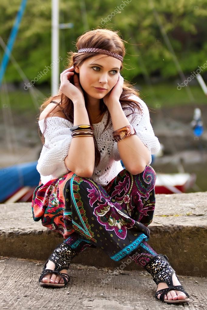 Portrait of young hippie girl — Stock Photo ...