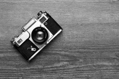 Vintage photo camera, black and white