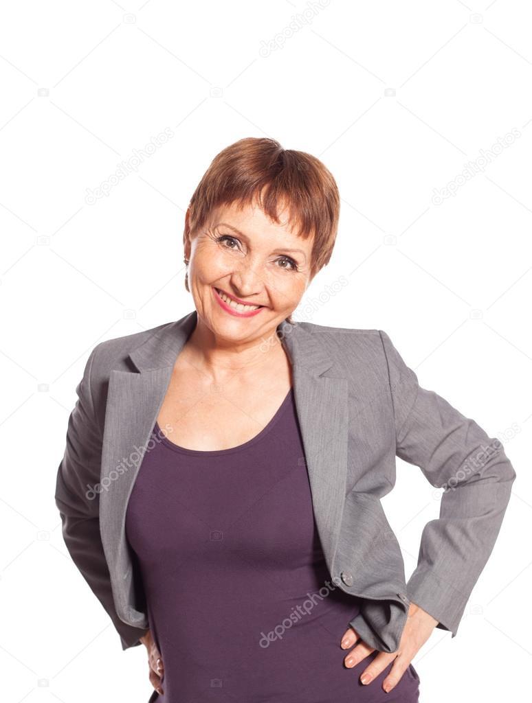 kvinna 50 år attraktiv kvinna 50 år gamla leende — Stockfotografi  kvinna 50 år