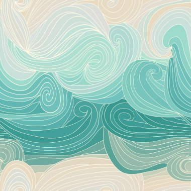 wave seamless pattern sea theme in shades of blue