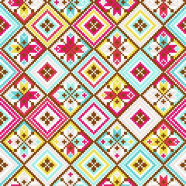 Colorful tribal seamless pattern pixelated