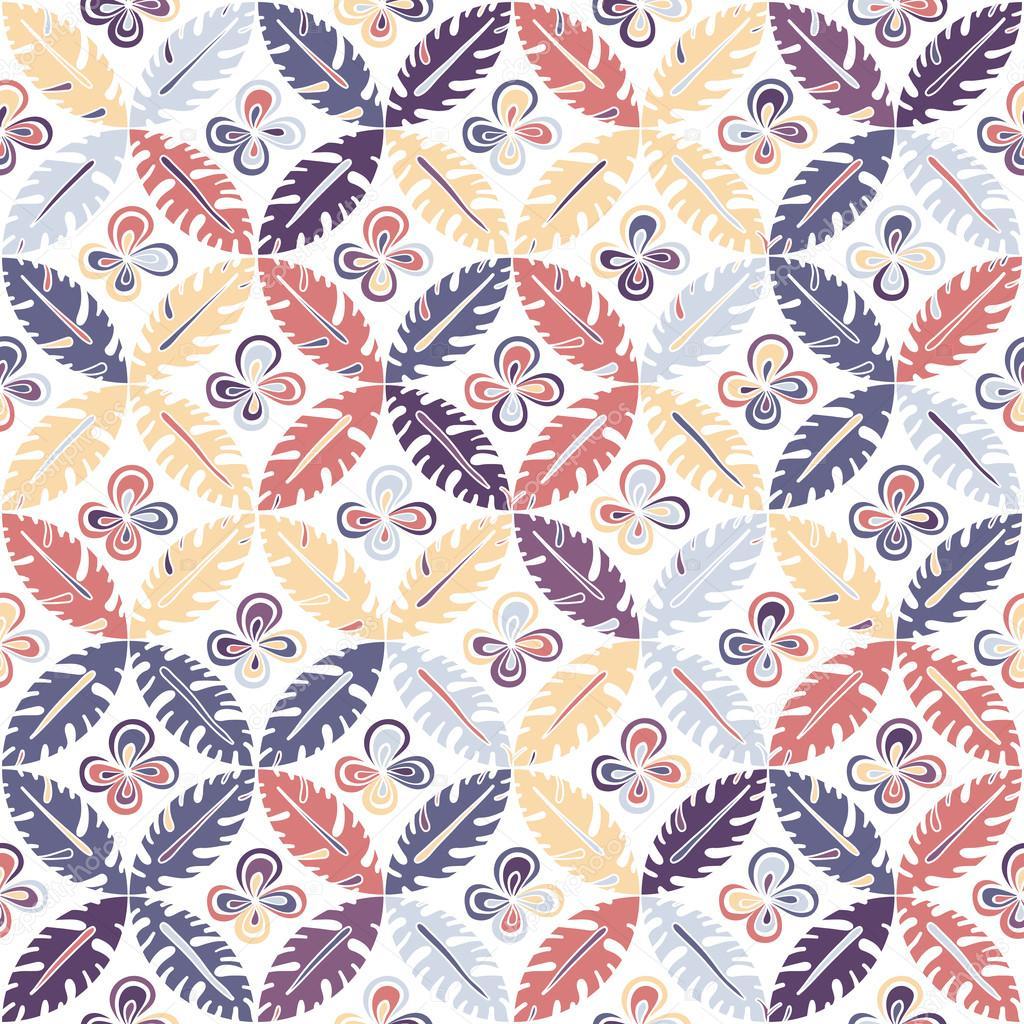 Seamless summer colorful hand drawn leaf pattern. Vector illustr